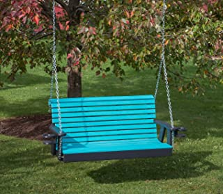Ecommersify Inc 5FT-Aruba Blue-Poly Lumber ROLL Back Porch Swing with Cupholder arms Heavy Duty Everlasting PolyTuf HDPE - Made in USA - Amish Crafted