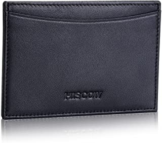 Leather Thin Card Holder, Slim ID Case Small Credit Card Wallet for Men & Women (Black)