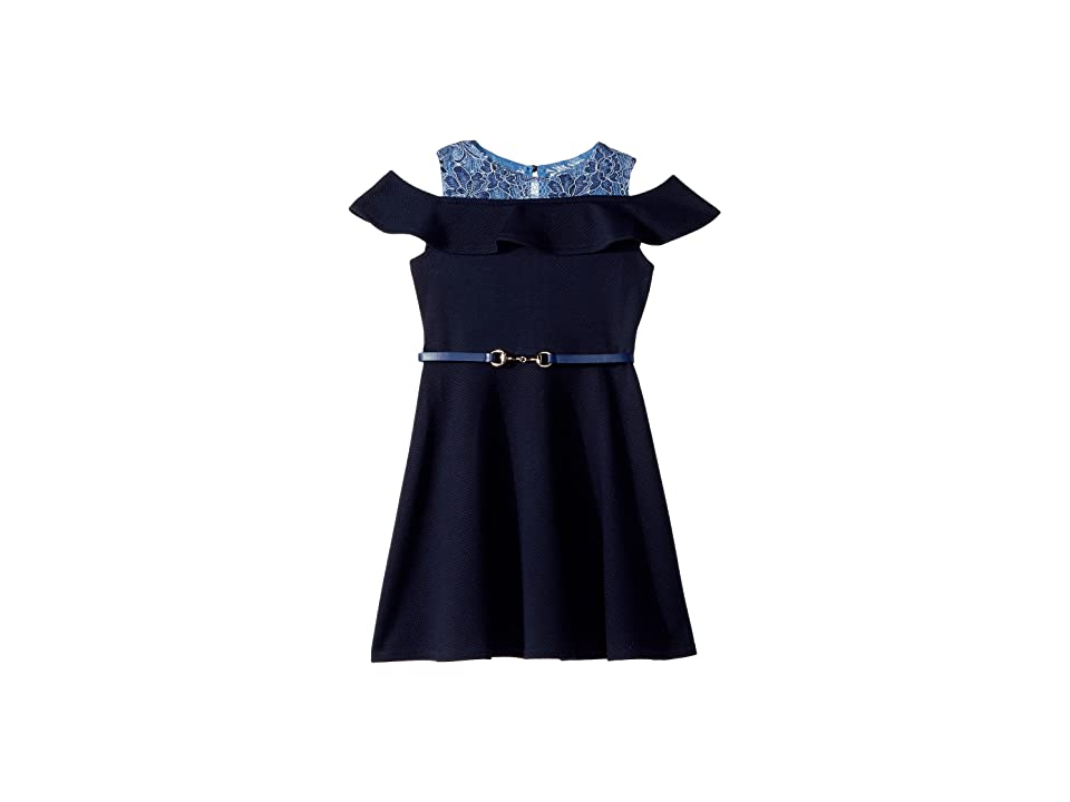 Us Angels Texture Knit and Lace Dress (Little Kids) (Navy) Girl