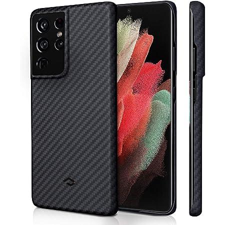 「PITAKA」Galaxy S21 Ultra 対応 ケース MagEZ Case アラミド繊維製 高級なカーボン風 超薄(0.85mm) 超軽量(16g) 耐衝撃 6.8インチ ミニマリスト シンプル デザイン ワイヤレス充電 対応 カバー (黒/グレーツイル柄)