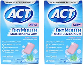 ACT Dry Mouth Moisturizing Gum with Xylitol, Sugar Free Bubble Fresh, 20 Pieces (2 pack)
