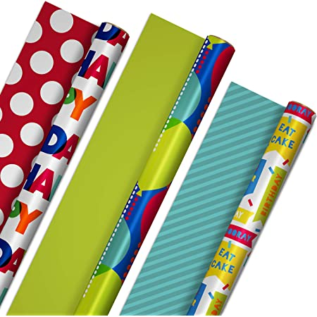 Hallmark Reversible Birthday Wrapping Paper Bundle (3-Pack: 75 sq. ft. ttl.) Balloons, Bright Green, Teal Stripes, White Polka Dots on Red