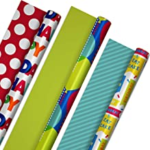 Hallmark Reversible Birthday Wrapping Paper Bundle (3-Pack: 75 sq. ft. ttl.) Balloons, Bright Green, Teal Stripes, White P...
