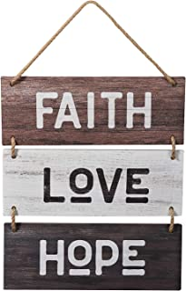MUPIANLX Farm-House Inspirational Faith Love Hope Rustic Wooden Decor Hanging Wood Wall Decoration Set of 1 (4.3x12in/piec...