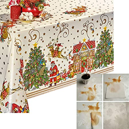Christmas PVC Wipe Clean Vinyl Tablecloth ALL SIZES Code F673-1