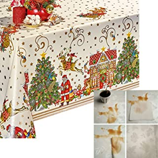 Decoser Heavy Duty Flannel Backed Vinyl Tablecloth Easy to Wipe-Clean Oil-Waterproof Plastic Rectangle Table Cover for Christmas