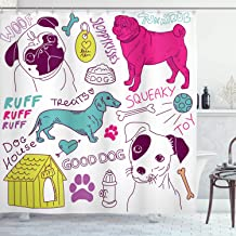 Ambesonne Dog Lover Decor Collection, Love Dogs Doodle Footprint Dog Food Bowl House Ball Toy Play Time Art, Polyester Fabric Bathroom Shower Curtain, 84 Inches Extra Long, Fuchsia Teal purple
