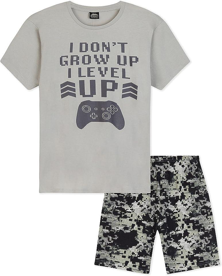 Schlafanzug Jungen Kurz, Schlafanzug Kinder Jungen und Teenager, Jungen Pyjama, Nerd Geschenke, Coole Sachen für Jungs, 110-164