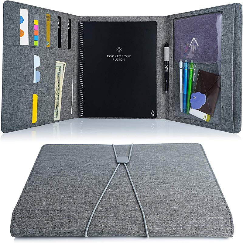 Folio Cover For Rocketbook Everlast Fusion Letter Size Waterproof Fabric Multi Organizer With Pen Loop Zipper Pocket Business Card Holder Fits A4 Size Notebook 11 X 9 Inch Gray