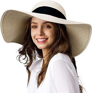Womens Sun Straw Hat Wide Brim UPF 50 Summer Hat Foldable Roll up Floppy Beach Hats for Women