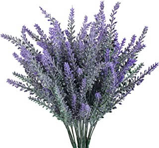 GTIDEA 4pcs Artificial Flowers Flocked Plastic Lavender Bundle Fake Plants Wedding Bridle Bouquet Indoor Outdoor Home Kitc...