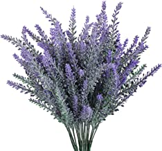 GTIDEA 4pcs Artificial Flowers Flocked Plastic Lavender Bundle Fake Plants Wedding Bridle Bouquet Indoor Outdoor Home Kitc...