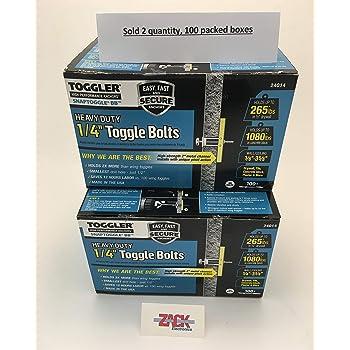 BA 3//16-24 Toggler SNAPTOGGLE Heavy Duty Toggle Bolt Zinc with 3//16-24 x 2 1//2 Flat Head Machine Screws Zinc 100 Pcs