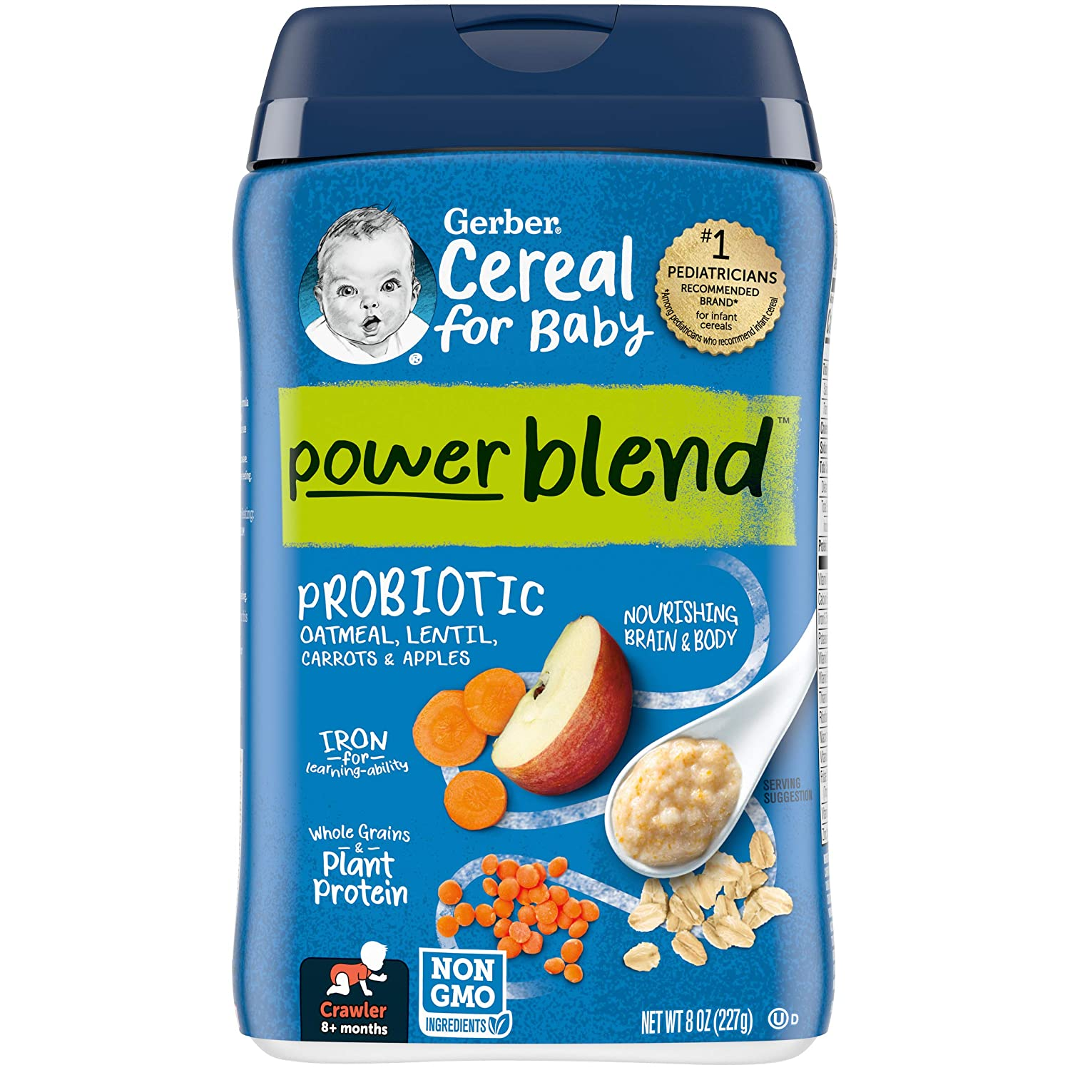 Gerber Powerblend Cereal for Baby Choice Carrot Apple Lentil - Oatmeal In stock