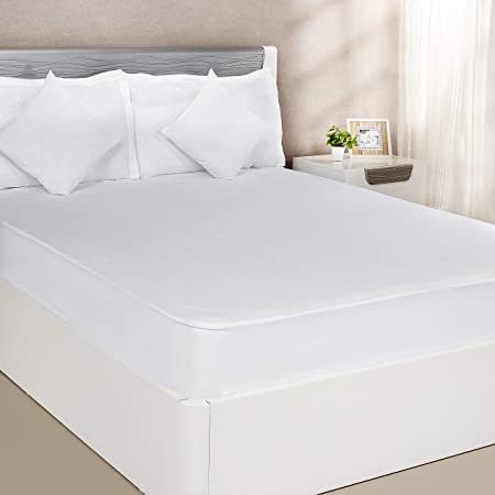 Amazon Brand - Solimo Waterproof Terry Cotton Mattress Protector, 75x60 inches, Queen Size (White)