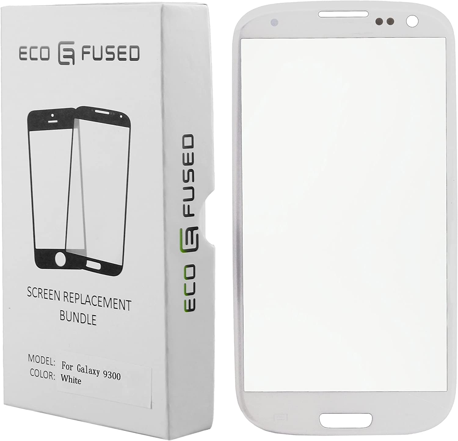 Eco-Fused Screen Replacement Kit Compatible with Samsung Galaxy S3 Including Replacement Glass/Tool Kit/Adhesive Sticker Tape/Tweezers/Microfiber Cleaning Cloth/Instruction Manual