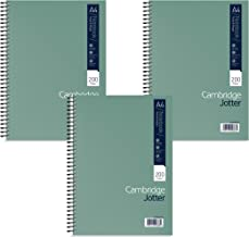Cambridge Jotter A4 Card Cover Wirebound Notebook Ruled with Margin 200 Page, 3 Notebooks