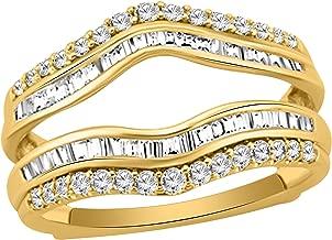 3/4 Ct Round & Baguette Shape Natural Diamond 14K Yellow Gold Wrap Enhancer Engagement Ring