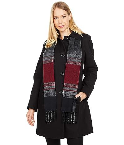 London Fog Short Button Front Wool Coat (Black) Women