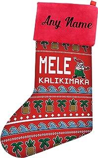 Christmas Stockings Kids Mele Kalikimaka Hawaiian Santa Ugly Christmas Sweater Themed Christmas Stockings Boys Personalized Christmas Stockings Custom Christmas Stocking Red