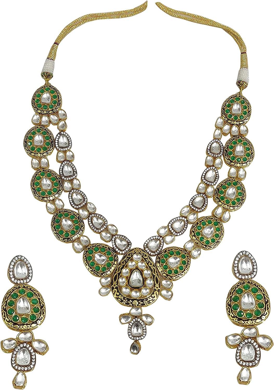 Babosa Sakhi Emerald Kundan Necklace CZ Indian Wedding Collar Set