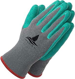 دستکش های باغی برای زنان و مردان - (2 جفت در هر بسته) - سوپر گریپای با پوشش محافظتی ویژه در برابر کاهش برای باغبانی - ماهیگیری - فعالیت های خودکار و کاری S، M، L اندازه (متوسط، سبز)