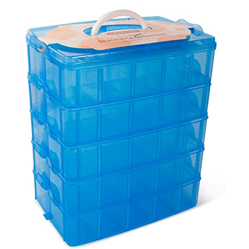 LifeSmart USA Stackable Storage Container Blue   50 Adjustable Compartments    Store More Than All Other