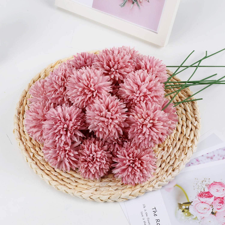 Artificial Popular overseas Flowers 25Pcs Silk Chrysanthemum National uniform free shipping Dark Bouq Pink Ball