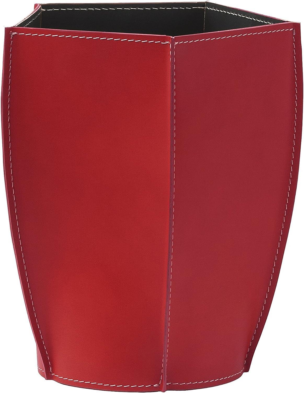 POLIGONO  Papierkorb aus Leder Farbe Rot, Leder Papierkorb für Büro Badezimmer küche Schlafzimmer, Made in  by Limac Design®. B071Z6JZBP | Für Ihre Wahl