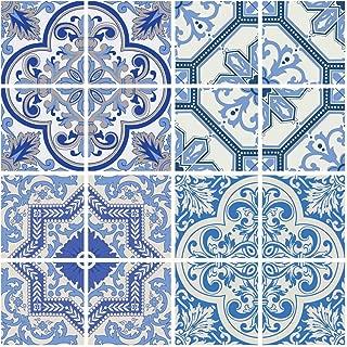 RoyalWallSkins Moroccan Blue Tile Decals 4x4 Inch - Set of 16 - DIY Self Adhesive Peel and Stick Tile Stickers for Backsplash Bathroom Kitchen Home Decor (Coimbra TAD160611)