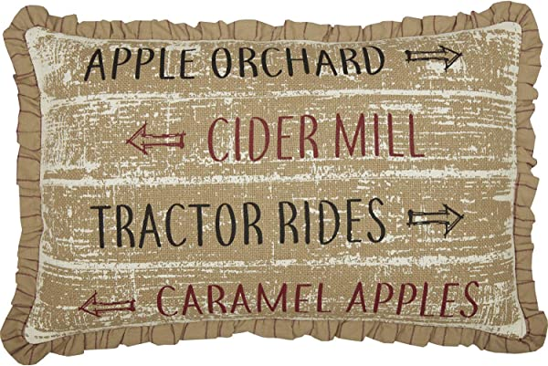 VHC Brands Bingham Star Orchard Cider Mill Tractor Rides Caramel Apples Text Burlap Cotton Americana Thanksgiving Decor Stenciled 22x14 Filled Pillow Soft Black