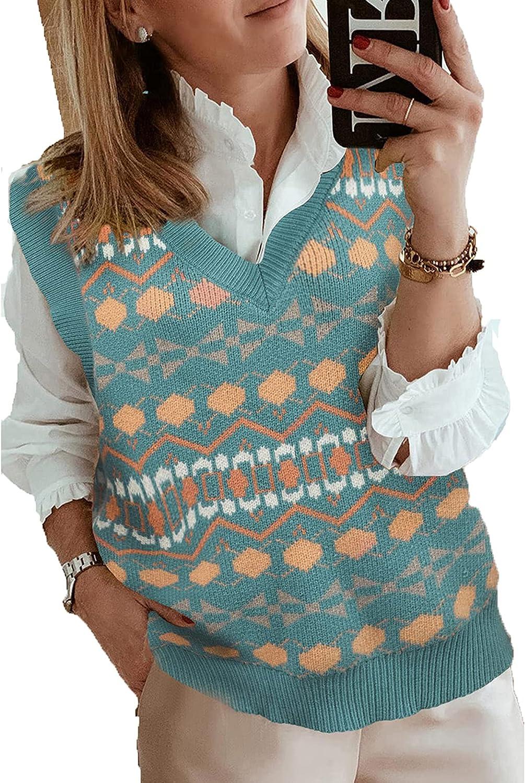 Womens Argyle Preppy Knitted Sweater Vest Y2k Sleeveless V-Neck Cropped Knitwear Tank Top E-Girls Streetwear