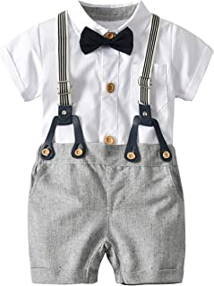 NOMSOCR Infant Baby Boys Short Sleeve White Bow-Tie Shirt Tops Suspender Pants Gentleman Clothes Set