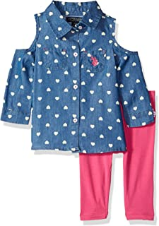 U.S. POLO ASSN. baby-girls Fashion Top and Pant Set Layette Set