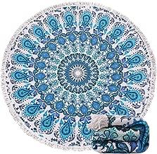 Genovega (23 Options Thick Round Beach Towel Blanket - Blue Boho Mandala Large Microfiber Terry Beach Roundie Circle Picnic Carpet Yoga Mat with Tassel for Women Two,High Color fastness