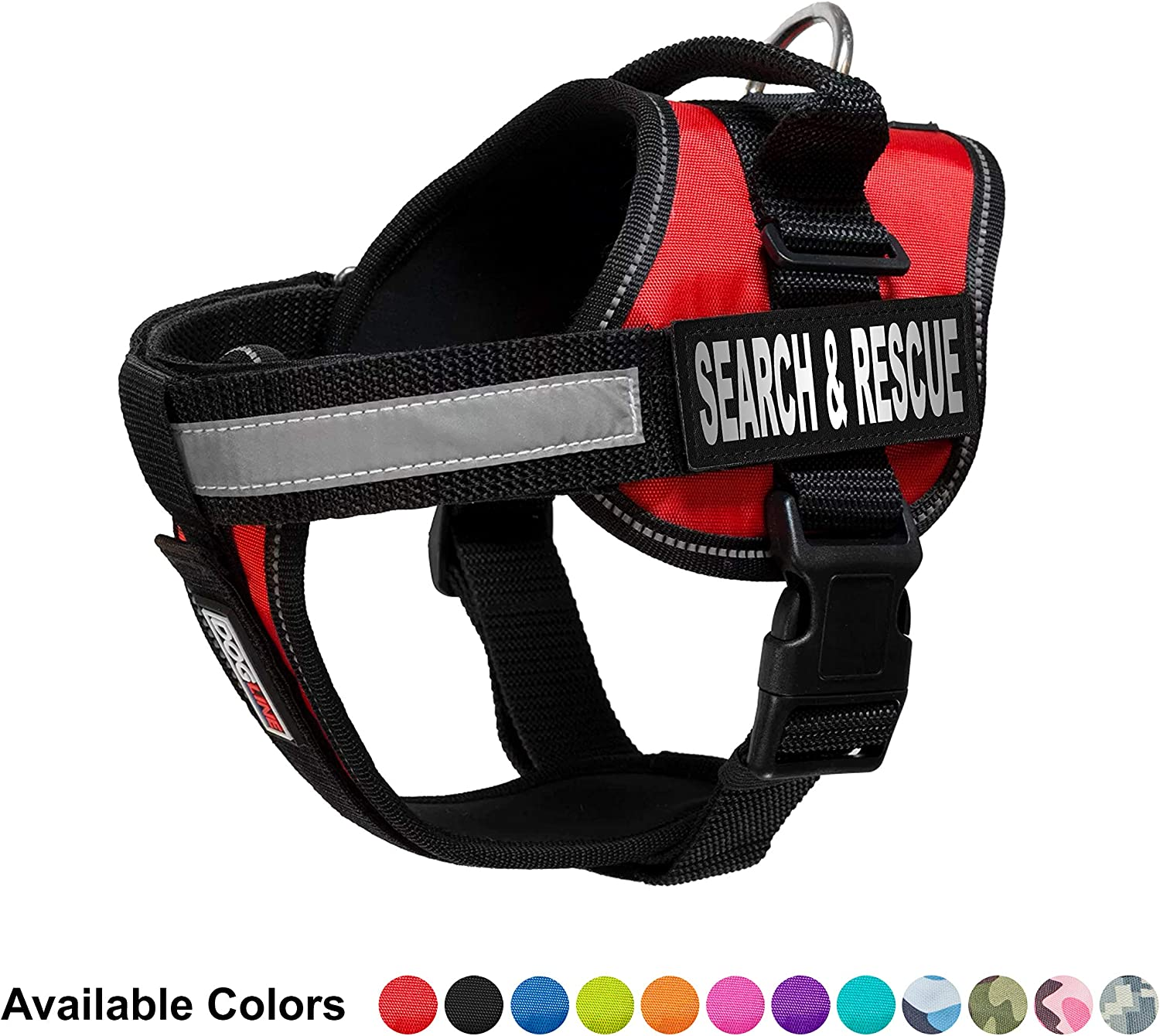 Dogline Unimax MultiPurpose Vest Harness for Dogs and 2 Removable Search and Rescue Patches, Medium, Red