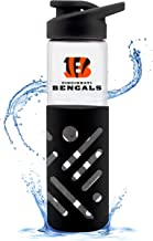 Duck House NFL Fan Shop NFL Glass Water Bottle with Carrying Handle | Premium Glassware | Silicon Protector Sleeve | Flip ...