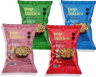 Pop Bitties Ancient Grain Chips (Variety 12-pack 1oz Bags) Whole Grains, Gluten Free, Vegan - Popped Sorghum, Quinoa, Brow...