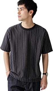 [ナノユニバース] Tシャツ ストライプジャガード クルーネック カットソー メンズ
