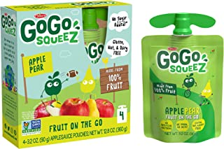 GoGo squeeZ Applesauce, Apple Pear, 3.2 Ounce (48 Pouches), Gluten Free, Vegan Friendly, Unsweetened Apples...