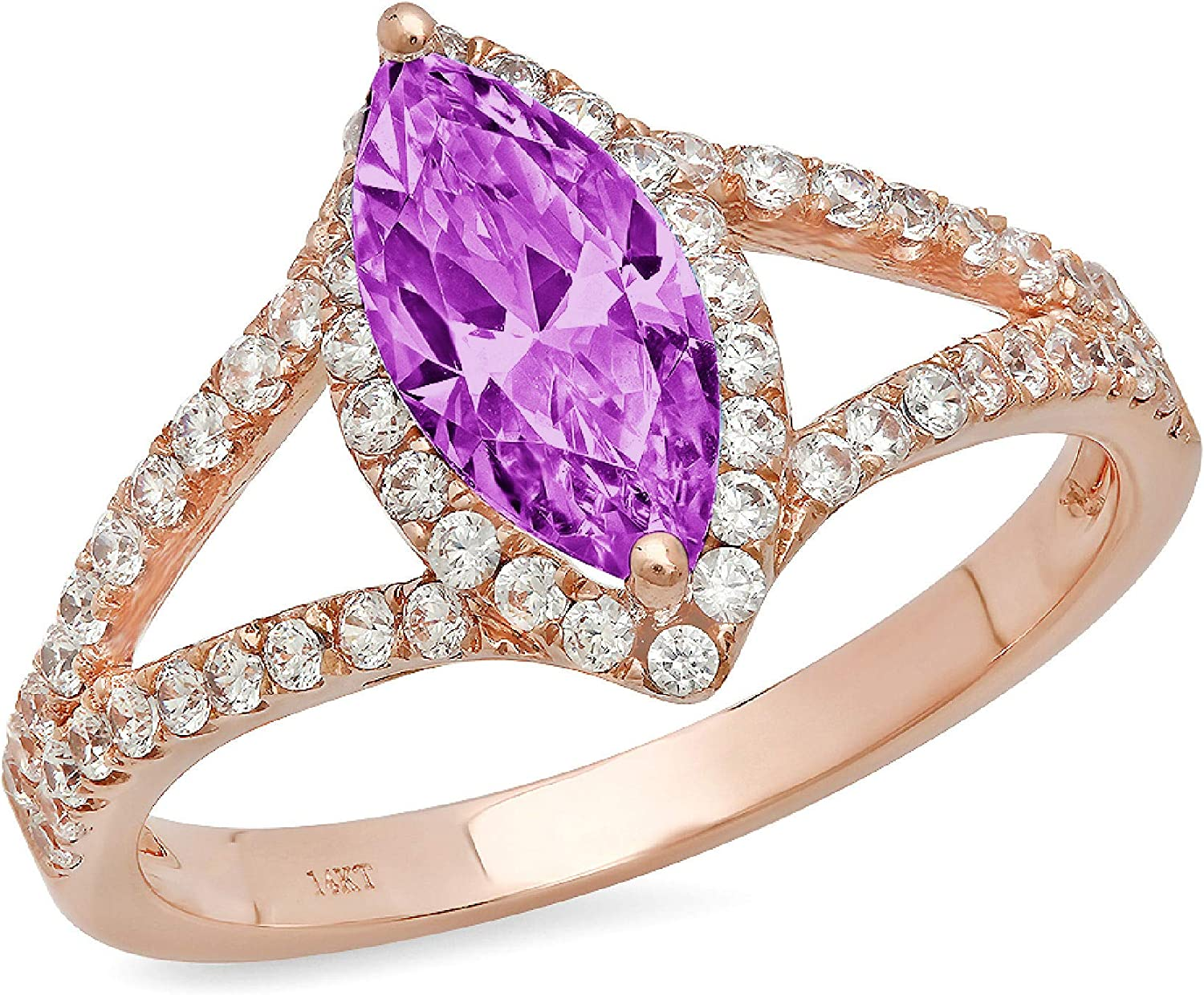 1.25 ct Marquise Cut Solitaire with Accent split shank Halo Stunning Genuine Flawless Simulated Purple Alexandrite Modern Promise Statement Designer Ring 14k Rose Gold