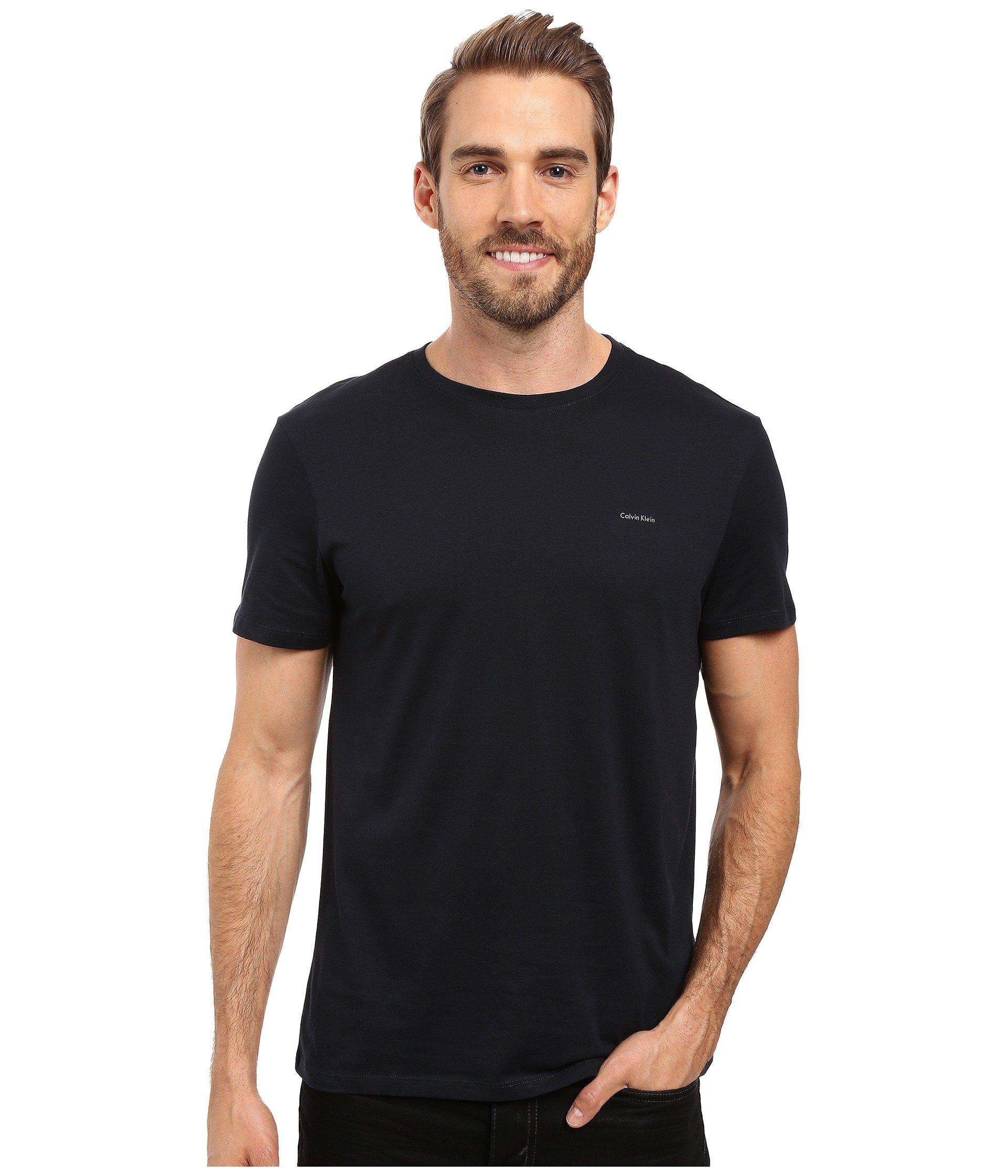 Pima Klein Sleeve Navy Crew Officer Cotton shirt Calvin T Short BqRvpqn1