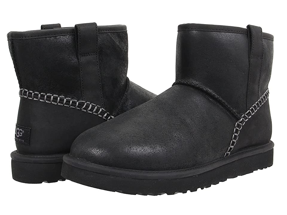 UGG Classic Mini Stitch (Black Leather) Men