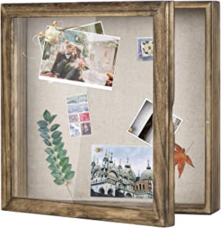 Love-KANKEI Shadow Box Frame Display Case with Linen Back Memorabilia Awards Medals Photos Memory Box 11x11