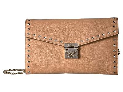 MCM Patricia Studded Outline Park Avenue Crossbody Wallet Large (Biscuit) Handbags