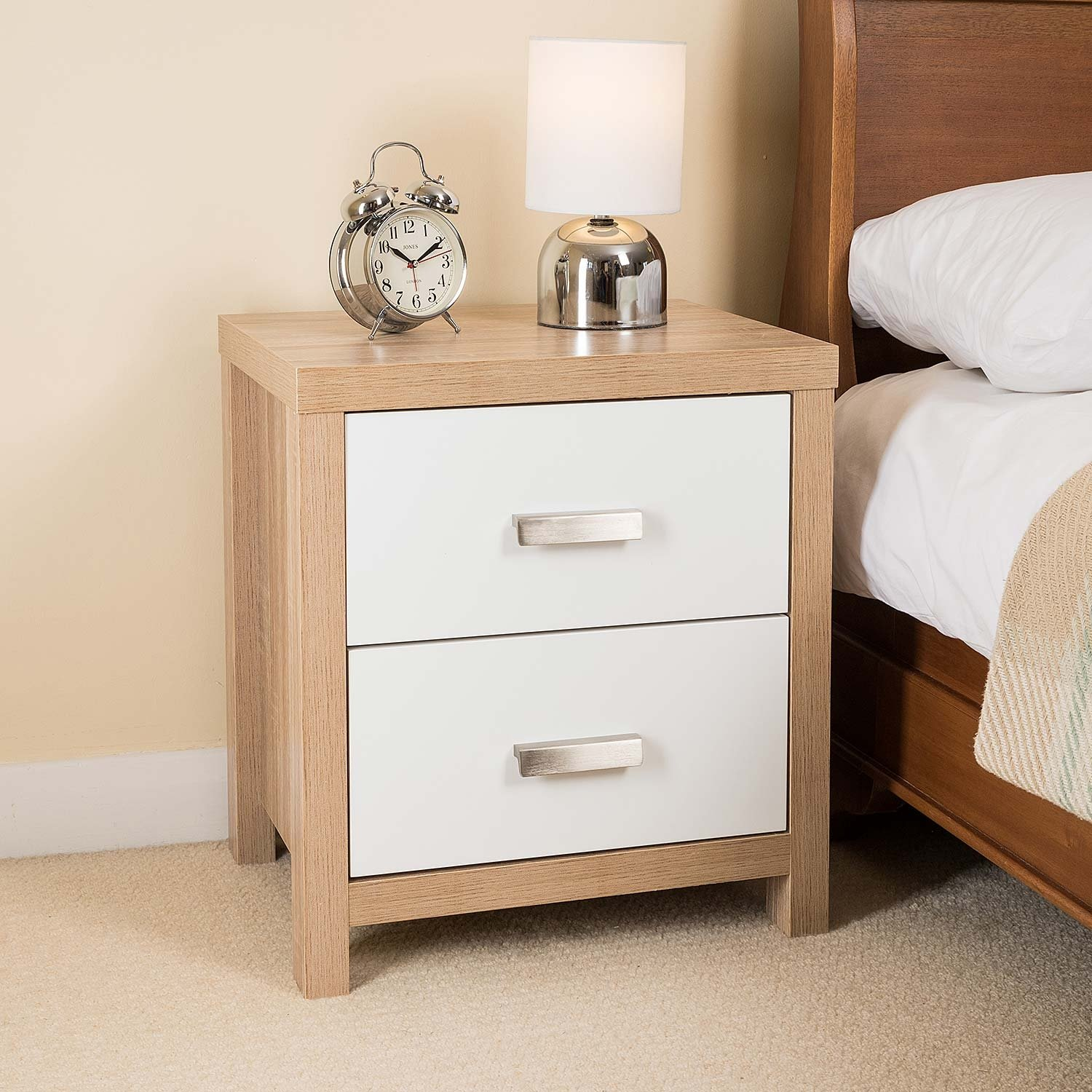 Christow 2 Drawer Oak Effect White Wood Bedside Cabinet Modern Bedroom Table Furniture Buy Online In Macedonia Christow Products In Macedonia See Prices Reviews And Free Delivery Over 4 000 Den Desertcart