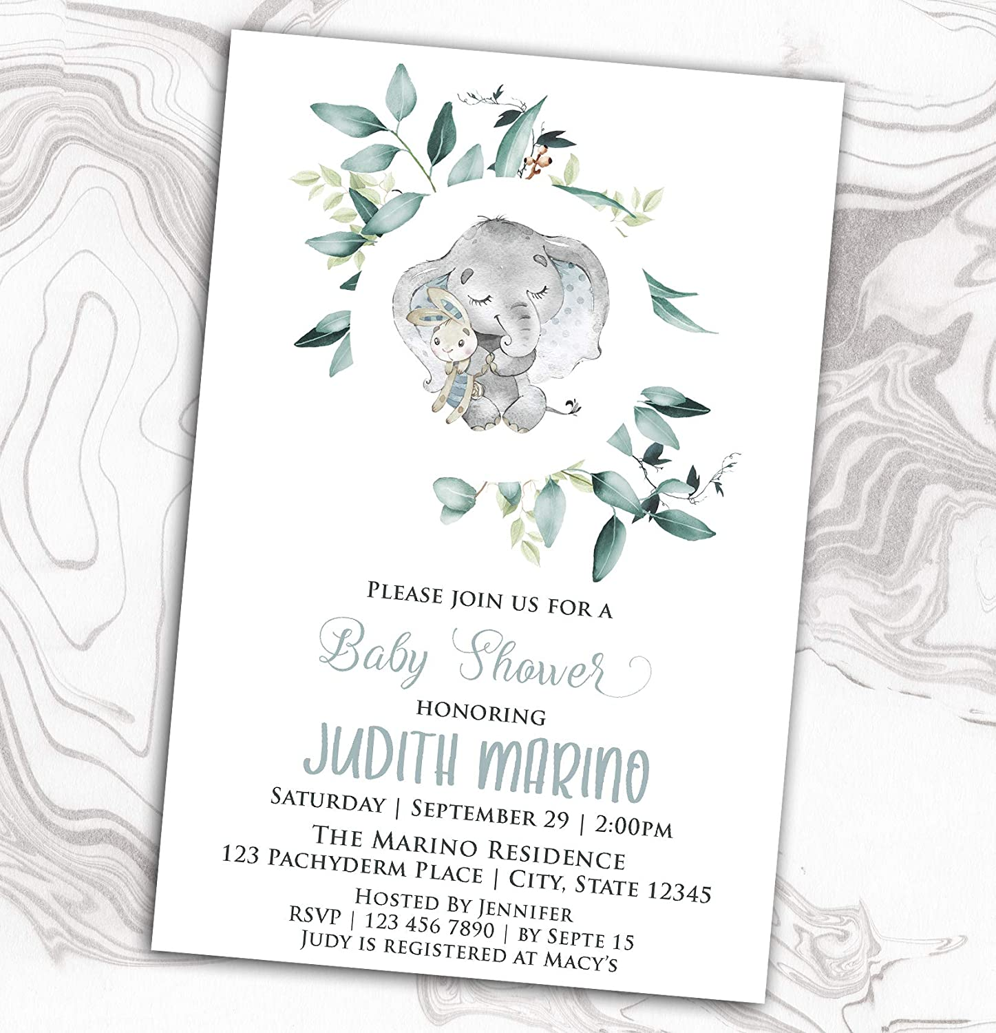 Elephant Baby Shower Our shop most popular Limited time for free shipping Invitation - Diaper Sprinkle L Watercolor