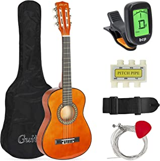 Best Choice Products 30in Kids Classical Acoustic Guitar Complete Beginners Kit w/Carrying Bag, Picks, E-Tuner, Strap (Brown)