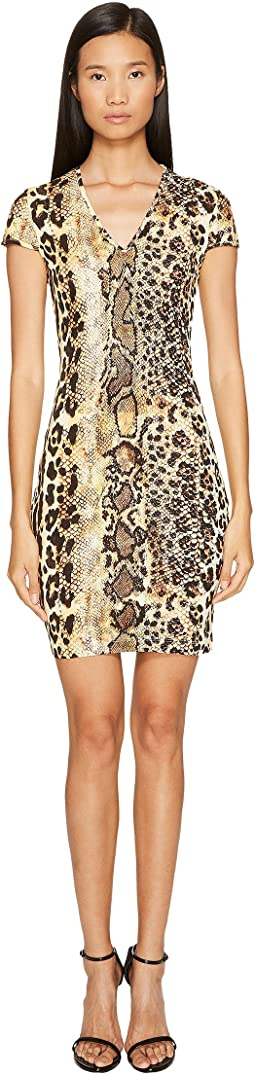 Just Cavalli - Short Sleeve V-Neck Mixed Animal Print Jersey Dress