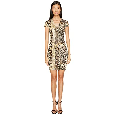 Just Cavalli Short Sleeve V-Neck Mixed Animal Print Jersey Dress (Natural) Women